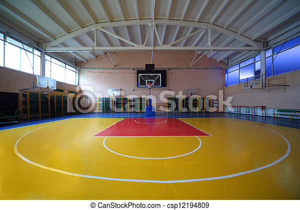 School Gym Hall With Red Yellow Floor And Basket Lighted