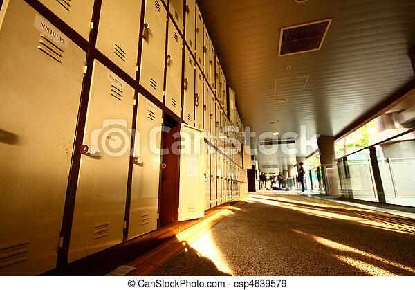 School Hallway with Student Lockers  - csp4639579