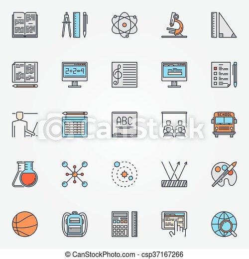 School icons colorful set - csp37167266