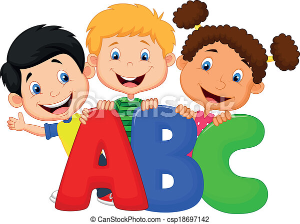 School kids cartoon with ABC - csp18697142