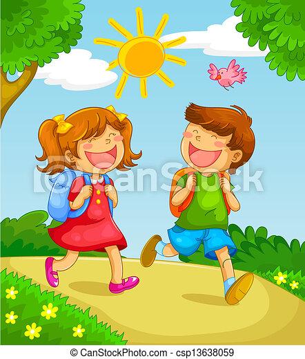 school kids - csp13638059