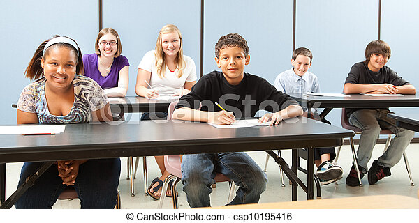 School Kids Diversity Banner - csp10195416