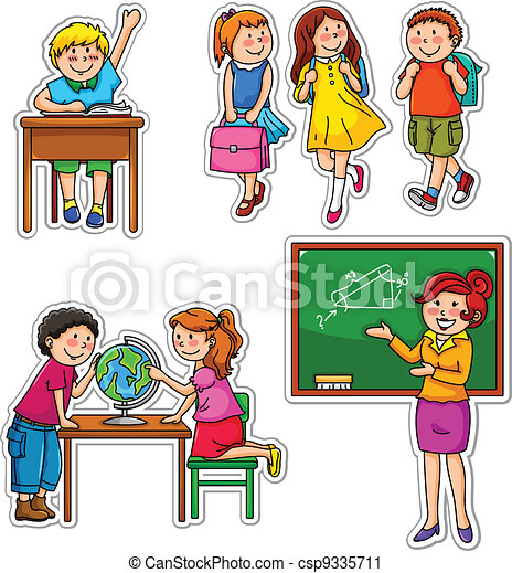 school kids set of children and teacher at school rh canstockphoto com Clip Art People at Work Outside Clip Art