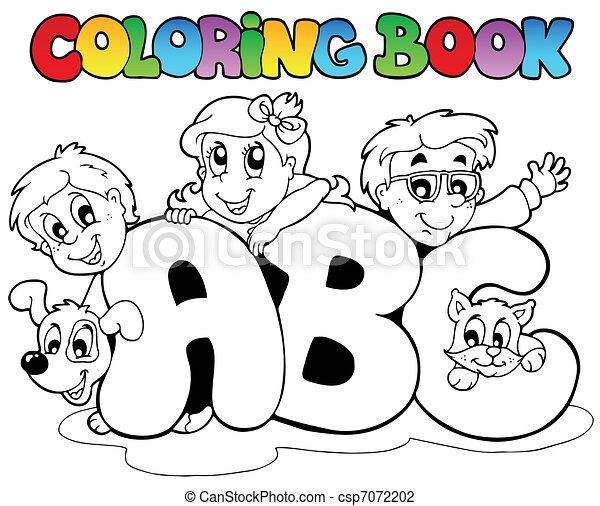 school, kleuren, brieven, boek, alfabet - csp7072202