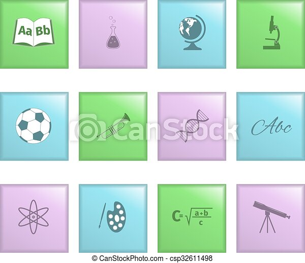 School lessons icon on a colored buttons - csp32611498