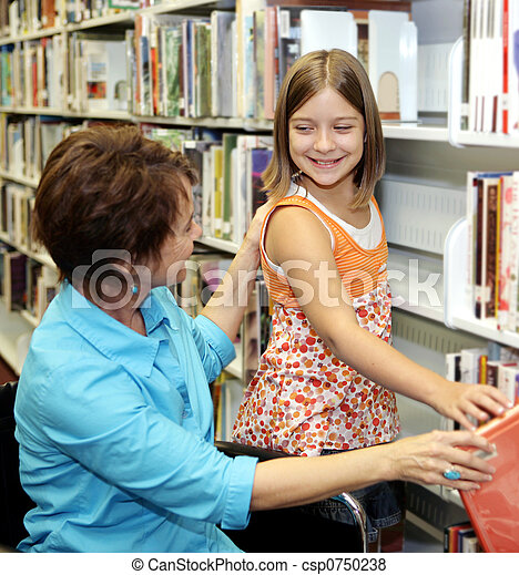 School Library - Choosing Book - csp0750238