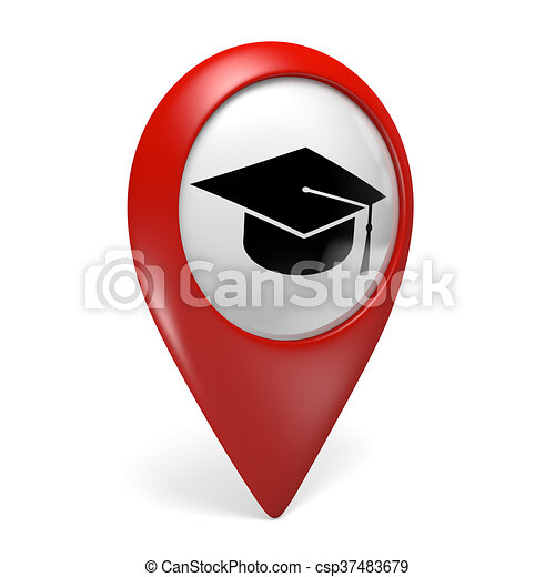 School Map Pointer Icon Red Map Pointer Icon With A Graduation Cap