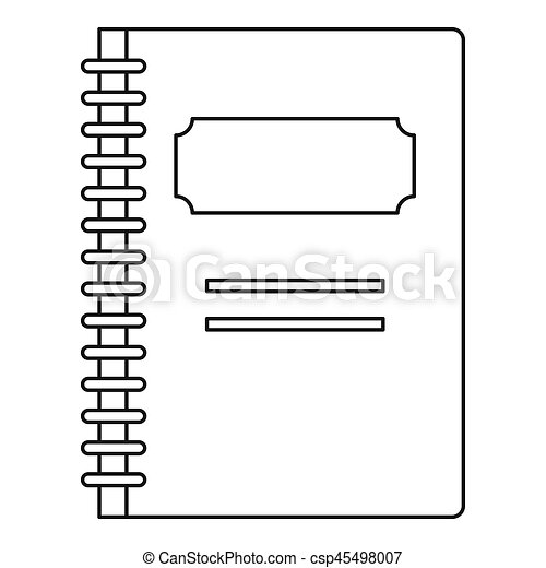 School notebook icon, outline style - csp45498007