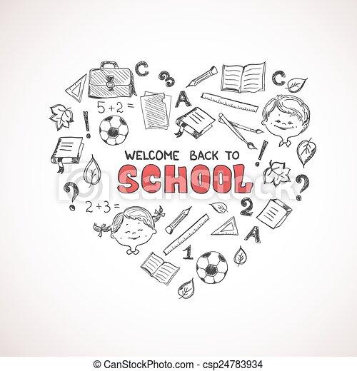 School objects in the shape of heart. - csp24783934