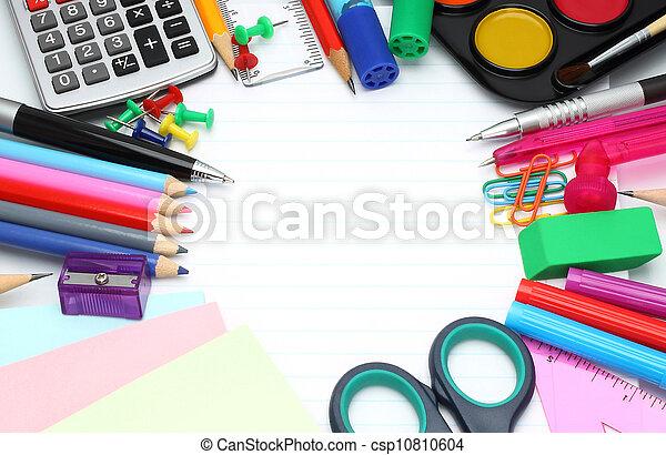 School office supplies close-up - csp10810604
