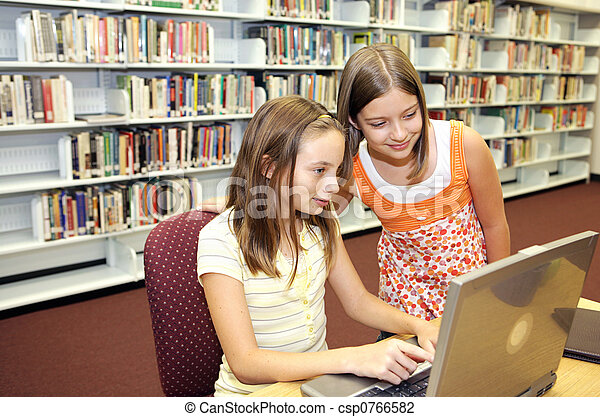 school, onderzoek, -, bibliotheek, online - csp0766582