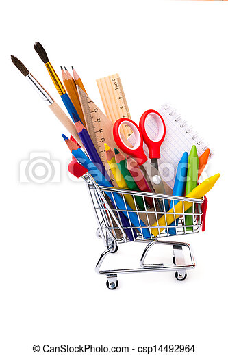 School or office supplies, drawing tools in a shopping cart - csp14492964