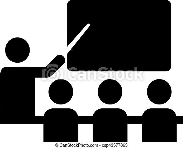 School pictogram with teacher and pupils