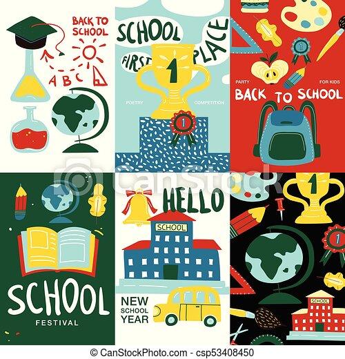 school posters banner set csp53408450