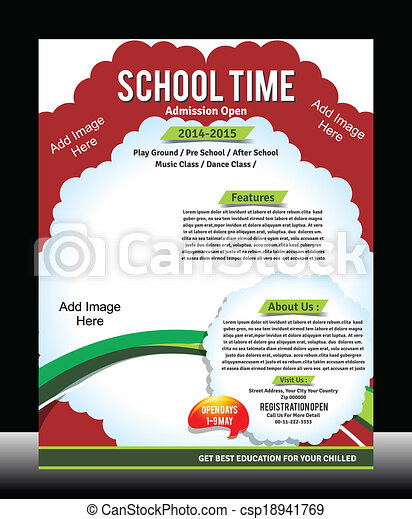 school promotion flyer template vector illustration