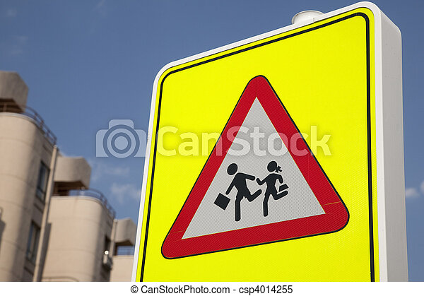 School Safety Sign in urban setting - csp4014255