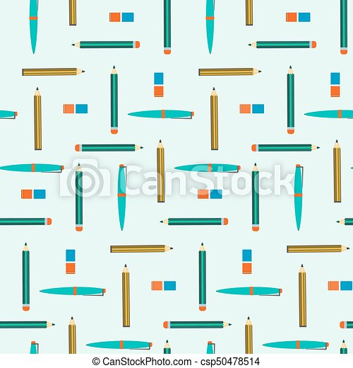 School Seamless Pattern With Pens Pencils And Erasers Nice Kids Education Texture With Study Equipment For Wrapping Paper