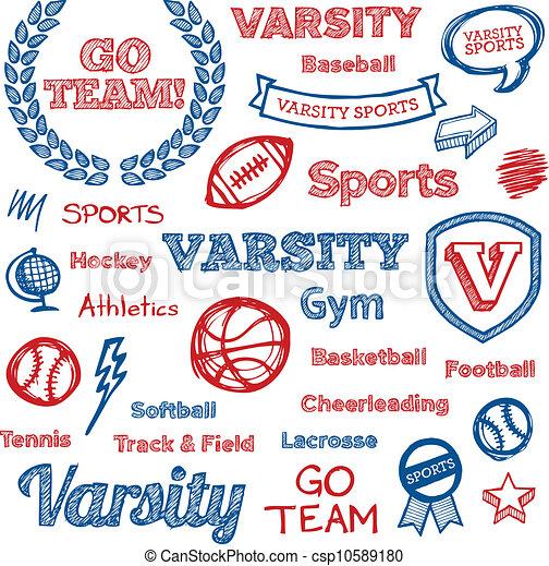 School sports hand-drawn elements - csp10589180