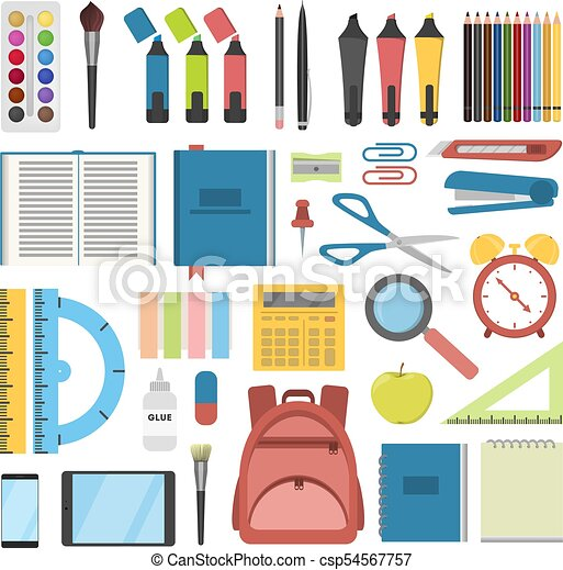 school stationary set pens and rulers books and backpack
