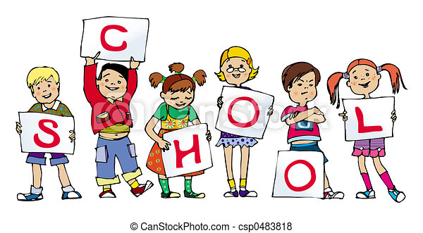 school group of small children holding lists of paper stock rh canstockphoto com small group reading clipart