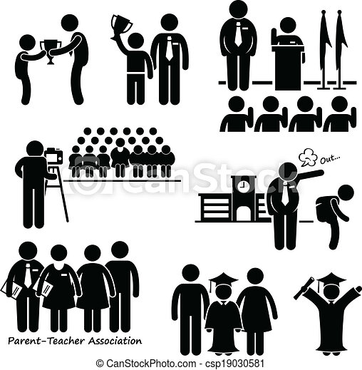 School student events icon. A set of pictograms ...
