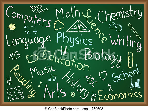 school subjects and doodles on chalkboard illustration of school