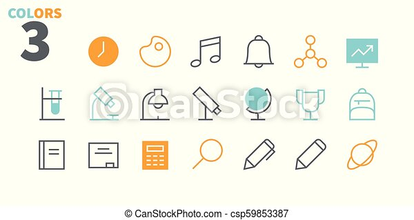 School Subjects Pixel Perfect Well-crafted Vector Thin Line Icons 48x48 Ready for 24x24 Grid for Web Graphics and Apps with Editable Stroke. Simple Minimal Pictogram Part 1 - csp59853387