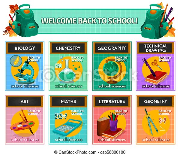 School subjects poster for back to school design. School subjects ...