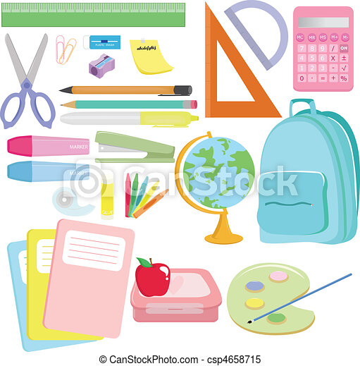 A vector illustration of a variety of school supplies clipart school supplies csp4658715 voltagebd Image collections