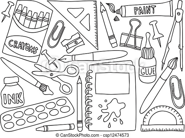 School Supplies Drawings Illustration Of School Or Office Supplies