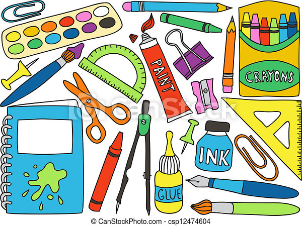 School supplies drawings illustration of school or office school supplies drawings csp12474604 voltagebd Image collections