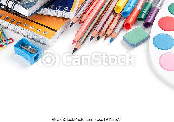 School supplies on white background - csp19413577