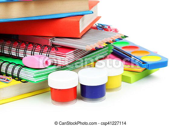 School supplies on white background - csp41227114