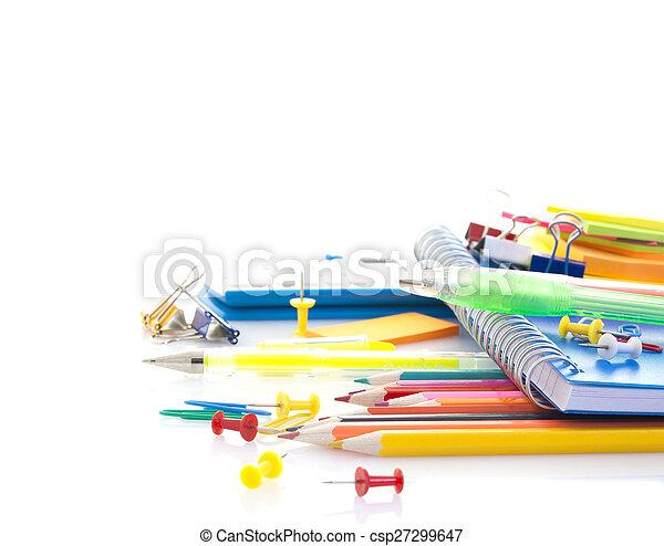 School supplies on white background - csp27299647