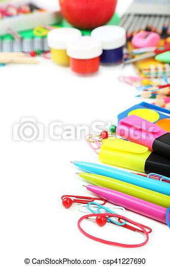 School supplies on white background - csp41227690