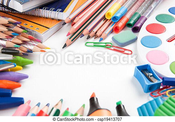 School supplies on white background - csp19413707