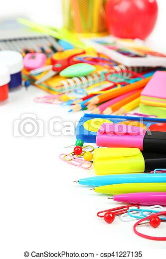 School supplies on white background - csp41227135