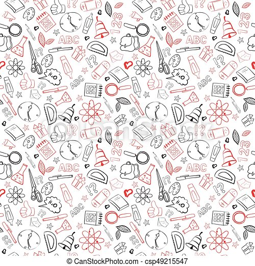 School supplies seamless pattern doodle hand drawn background vector Extraordinary Pattern Doodle
