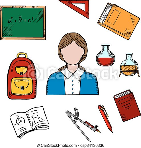 school teacher and education icons teacher profession concept with rh canstockphoto com