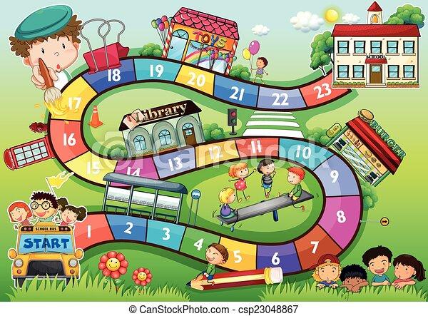 school, thema, spelraad - csp23048867