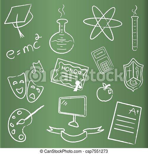 School themed chalkboard icons - csp7551273