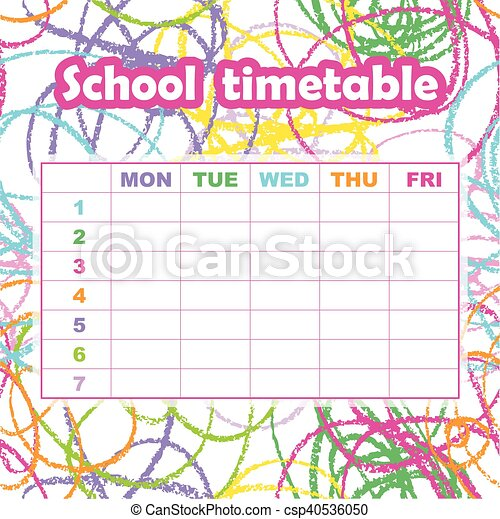 Clipart Vector of School timetable template for students and – School Time Table Designs