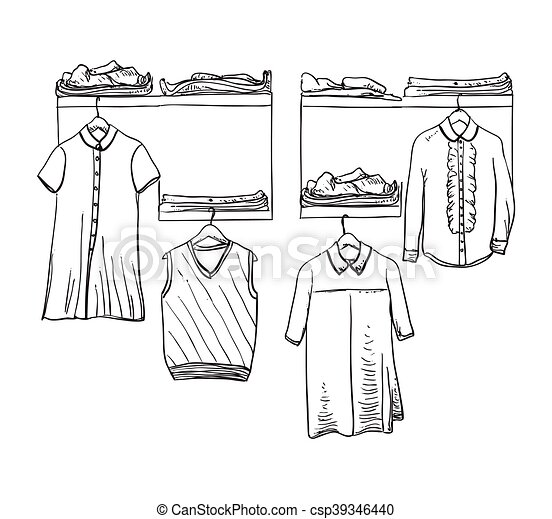 Wardrobe clipart black and white  School uniform. clothes on the hanger. wardrobe. School... eps ...