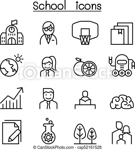 School, University, high school & Education icon set in thin line style - csp52161528