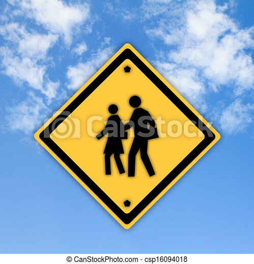 School warning sign on yellow with a blue sky background - csp16094018