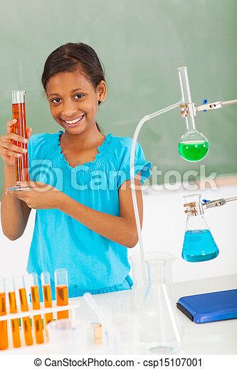 school, wetenschap, pupil, vrouwlijk, elementair, stand - csp15107001