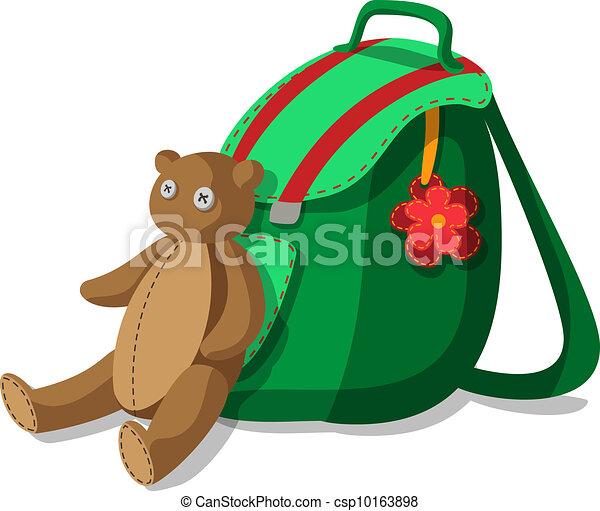 Schoolbag and teddy bear - csp10163898