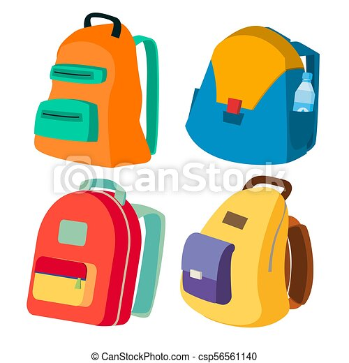 Schoolbag Set Vector Closed Backpacks Side View Colored School Modern Backpacks Isolated Flat Cartoon Illustration Canstock