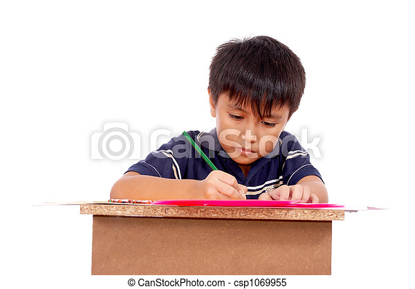 schoolboy concentrating - csp1069955
