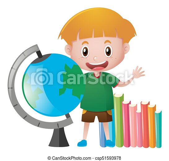 Schoolboy with globe and books - csp51593978
